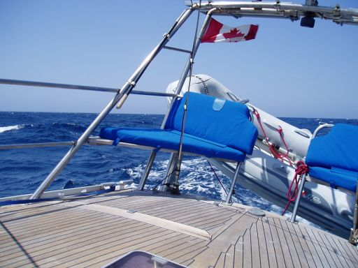 Jun '06 - Dinghy on davits underway - click to enlarge