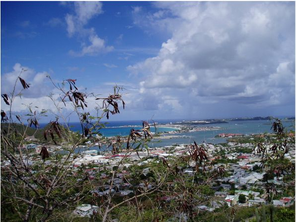Sep '04 - Hilltop View of Simpson Bay Lagoon - click to enlarge