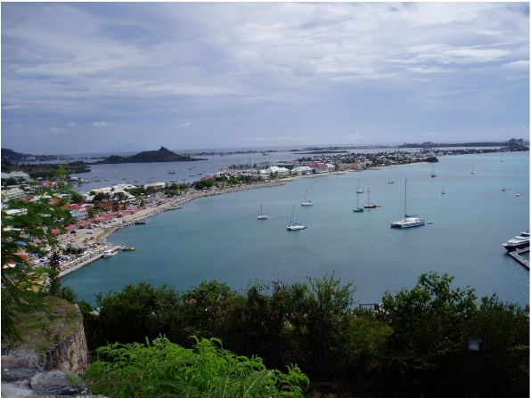 Sep '04 - Marigot Anchorage & Simpson Bay Lagoon in Background - click to enlarge