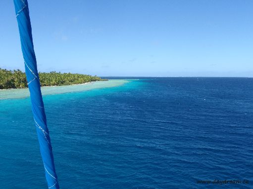 Jul '09 - Anchorage Island anchorage from the top of the mast - click to enlarge